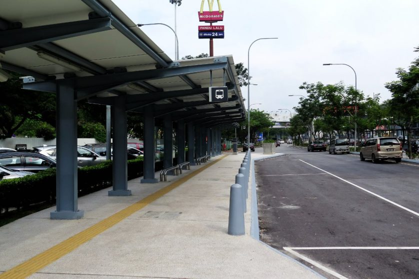 McDonald's and bus waiting area near entrance B