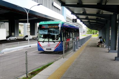 Feeder bus waiting near entrance B