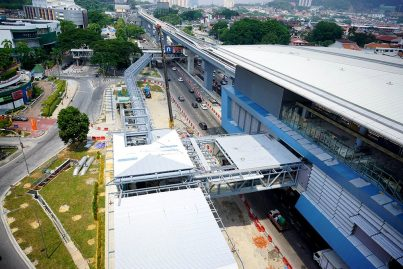 Internal and external cladding installation of Taman Mutiara Station in progress and Entrance A link bridge undergoing works. Jul 2016