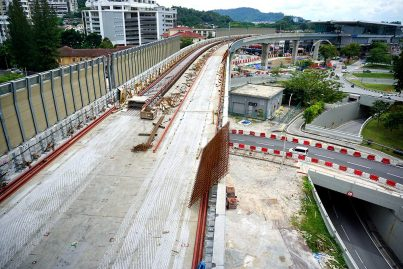 Trackworks is being carried out on the MRT guideway. Jan 2016