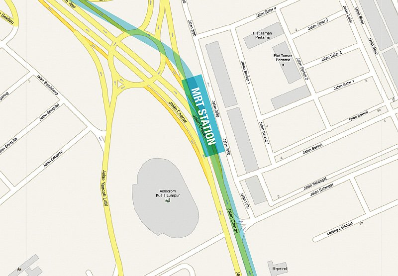 Location of Taman Pertama MRT Station