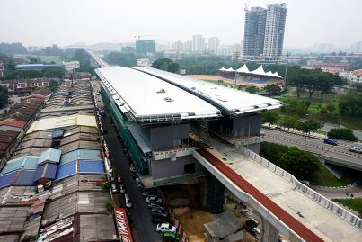 Aerial view of the construction of the Taman Pertama station. Oct 2015