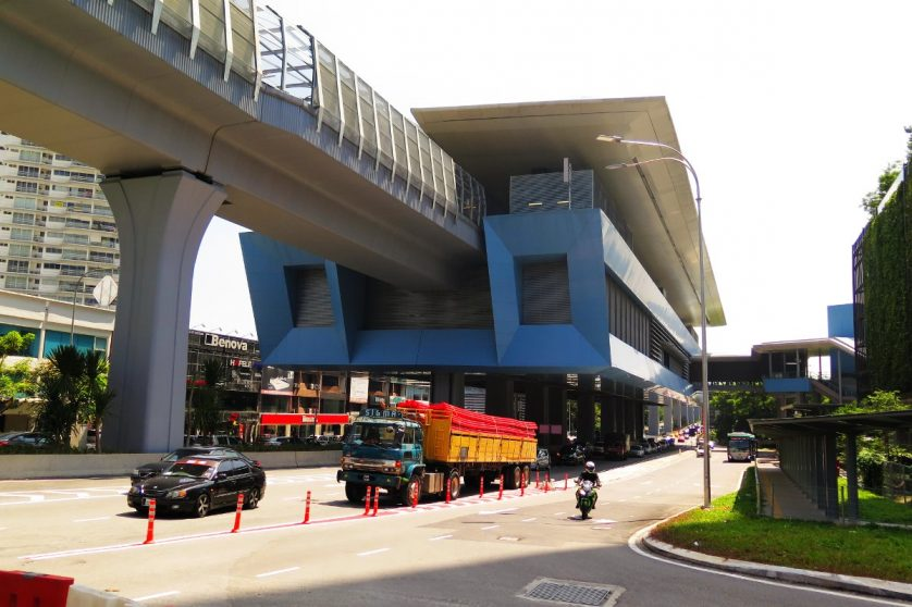 View of Taman Tun Dr Ismail MRT station from Jalan Damansara