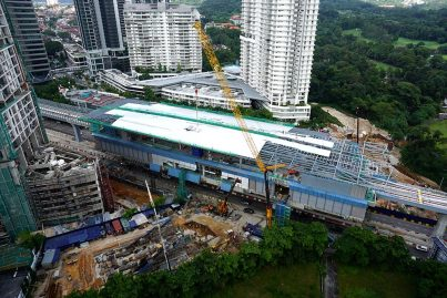 Aerial view of the Taman Tun Dr Ismail Station under construction. Dec 2015