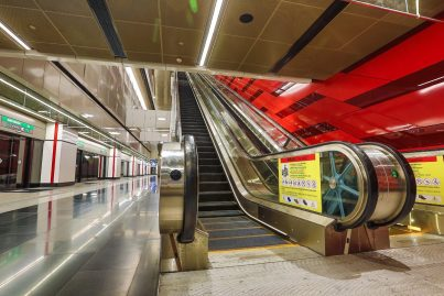 Escalators to Platform 2 at Bukit Bintang station
