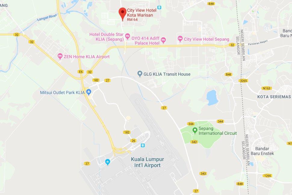 Location map of City View Hotel Kota Warisan