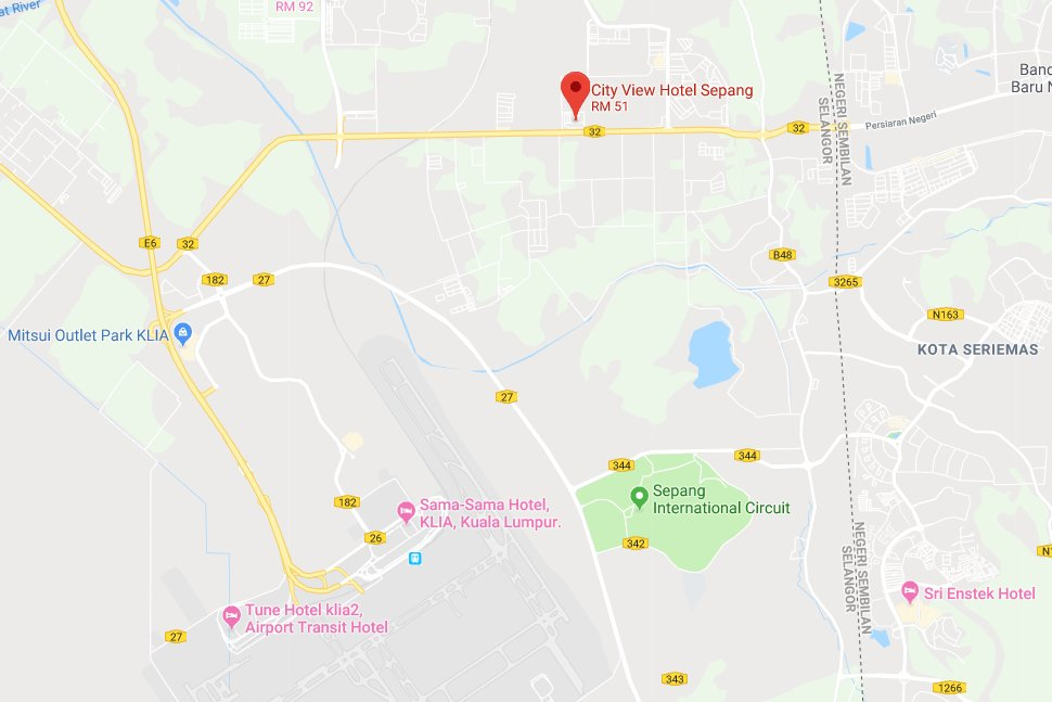 Location map of City View Hotel Sepang