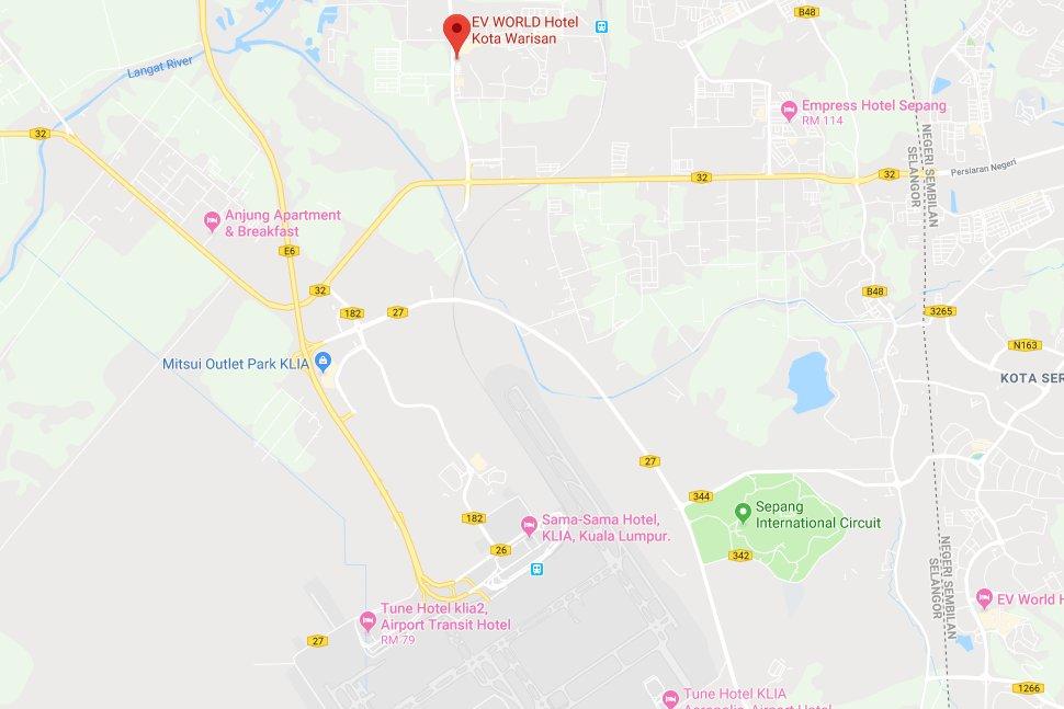 Location of EV World Hotel Kota Warisan