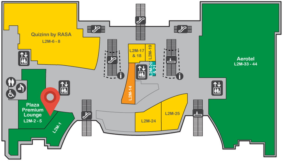 Location of Plaza Premium Lounge at level 2M of Gateway@klia2 mall