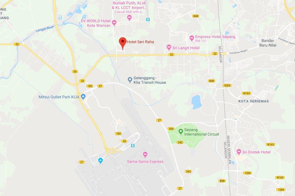 Location map of Seri Raha Hotel