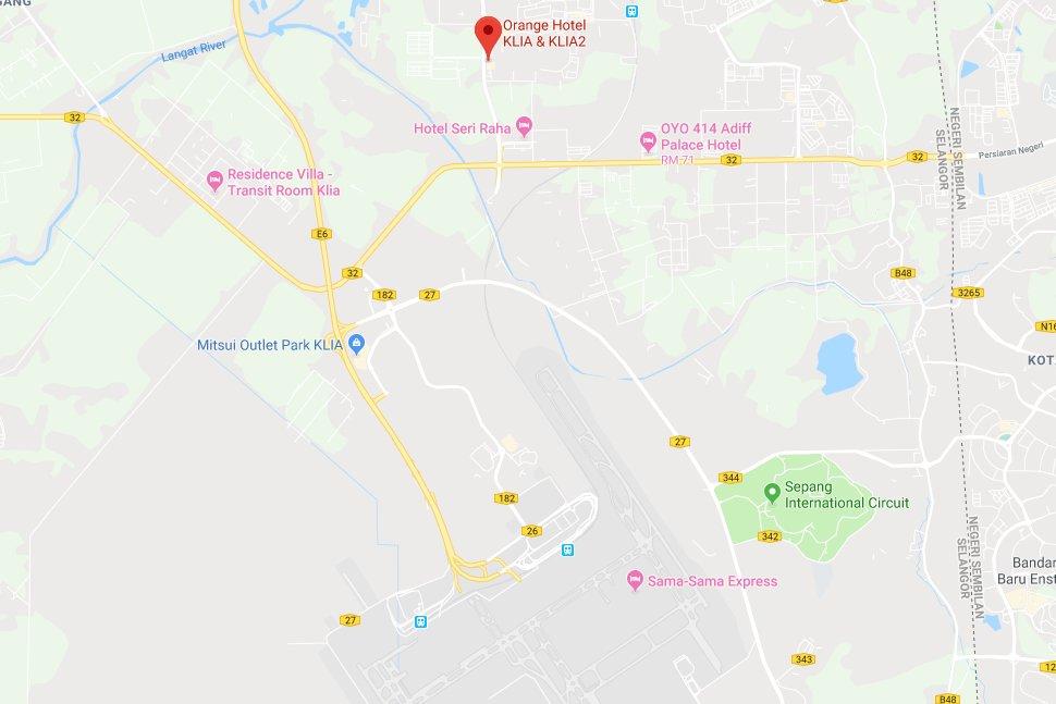 Location of Orange Hotel KLIA & klia2