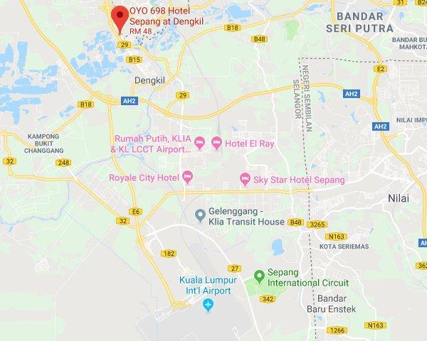 Map to OYO 698 Hotel Sepang