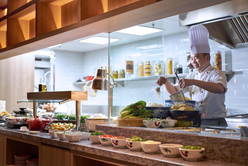 Chef in action at Plaza Premium Lounge