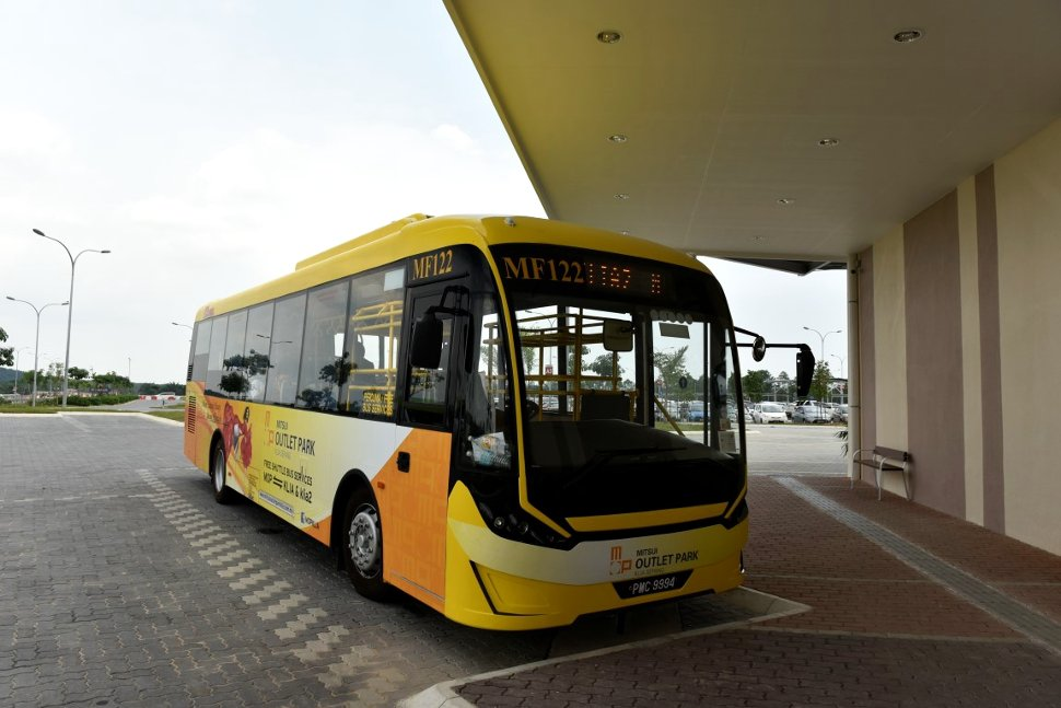 Free shuttle bus waiting at the shopping mall